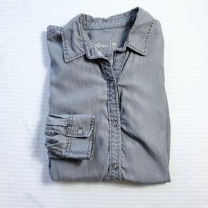 Gap Tunic Button Up Medium Gray Lyocell Shirt (E7)